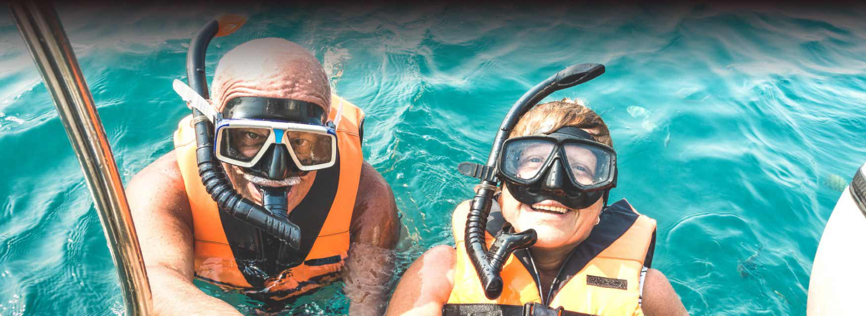 A man and a woman scuba diving